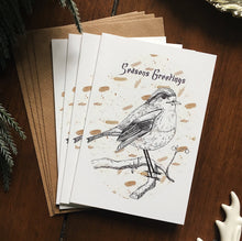 Load image into Gallery viewer, Illustrated Robin Christmas Card Set - Pack of 4