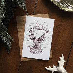 Stag Christmas Card - Single