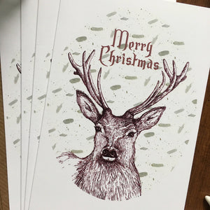 Pack of 4 Stag Christmas Cards