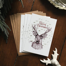 Load image into Gallery viewer, Pack of 4 Stag Christmas Cards