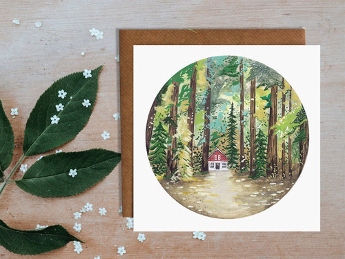 Cabin In The Woods Greetings Card