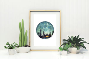 Camping at Night Giclée Watercolour Art Print