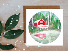 Load image into Gallery viewer, Red Cabin Greetings Card