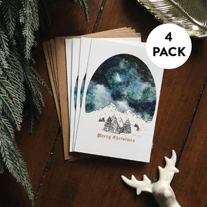 Christmas Cards Pack | Starry Sky Christmas Card Set | Pack of 4