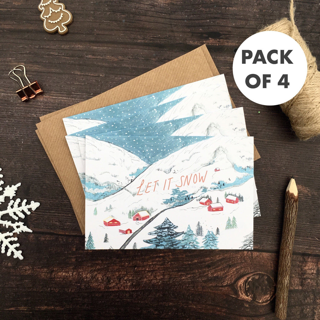 Let It Snow Christmas Cards - Pack of 4 | Eco-Friendly | Recycled | Set of 4 Cards