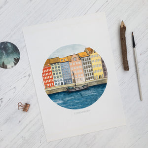Copenhagen A4 Print | Nyhavn Illustration