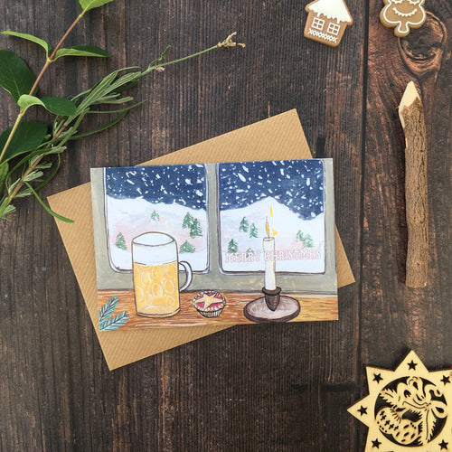 Beer & Mince Pie Christmas Card