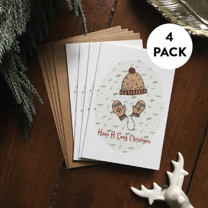 Pack of 4 Cosy Christmas Cards