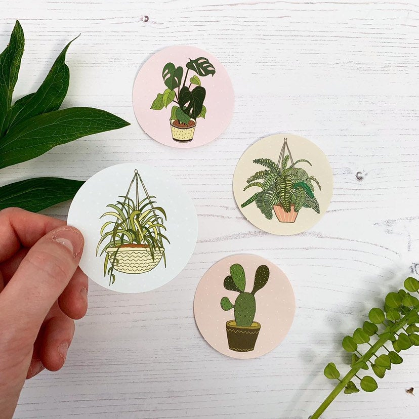 Set of 4 Plant Stickers