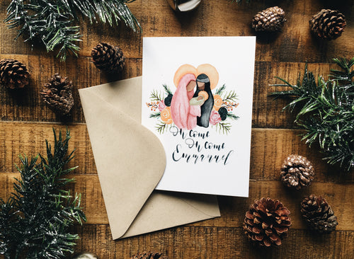 Holy Family Floral Christmas Card