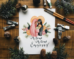 Holy Family Floral Christmas Print