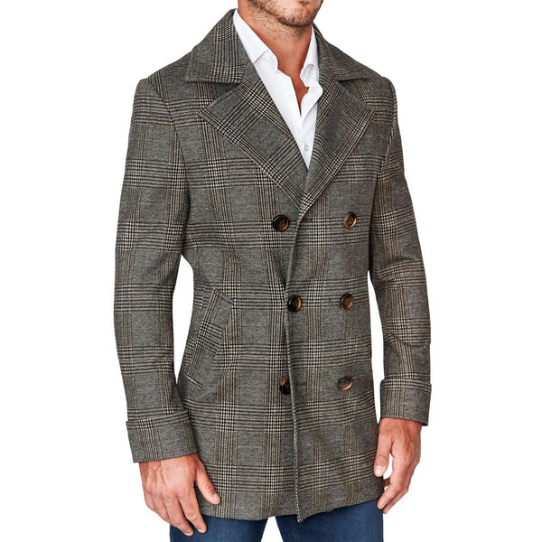 Brown Plaid Double-Breasted Coat