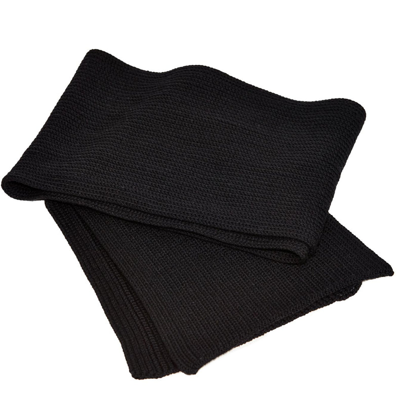 Italian Wool Knit Scarf - Black