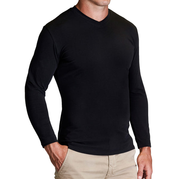 """The Chase"" Black Long Sleeve V-Neck"