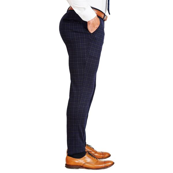 Athletic Fit Stretch Suit Pants - Blue Plaid