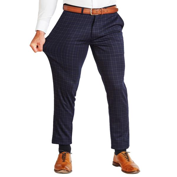 Athletic Fit Stretch Suit Pants - Blue Plaid (Ships In 1 Week)