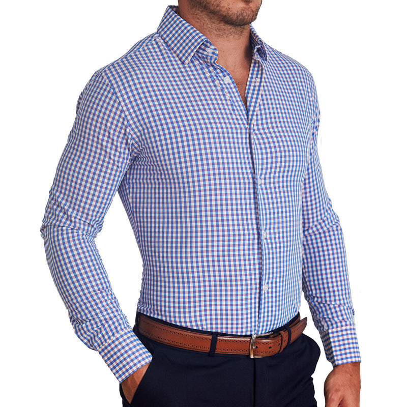 """The Shaw"" Blue and Faded Red Gingham"