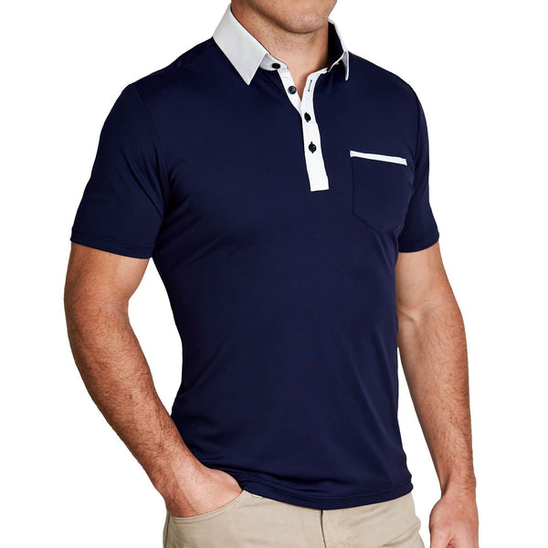 """The Thomas"" Navy with White Collar Tech Pique Polo"