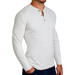 """The Quinn"" Heathered White Henley"
