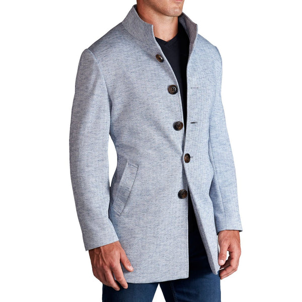 Light Blue Herringbone Mid-Weight Overcoat
