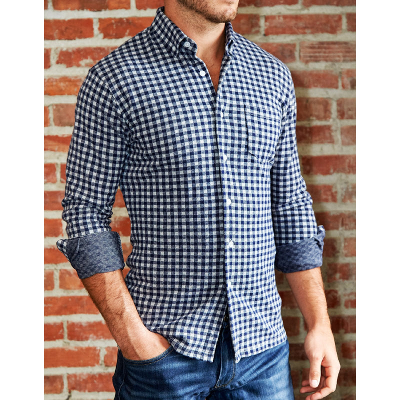 """The Blake"" Big Navy Check Casual Button Down"
