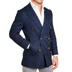 Navy Plaid Double-Breasted Peacoat