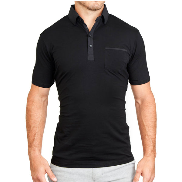 """The Ott"" Black on Black Polo"