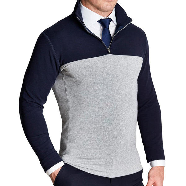 Navy & Grey Two-Toned Quarter Zip