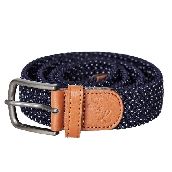 Stretch Belt - Navy with White