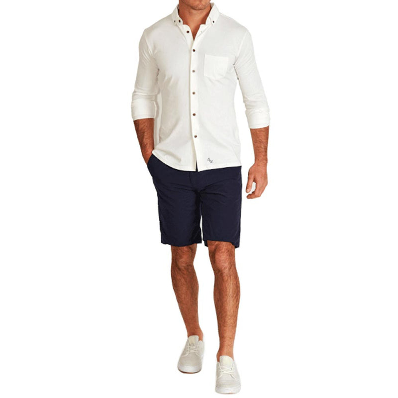 """The Rodgers"" Solid White Performance Pique Casual Button Down"