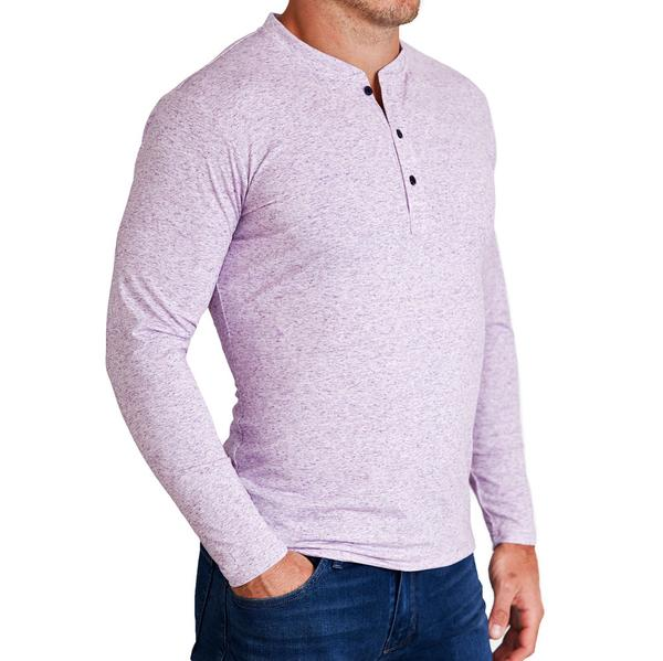 """The Frazier"" Light Purple Long Sleeve Henley"