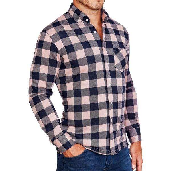 """The Pearson"" Pink and Navy Check Casual Button Down"