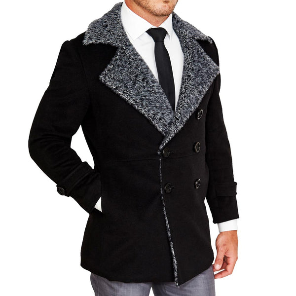 Limited Edition: Black Double-Breasted Peacoat with Grey Fur (Ships in 7 Weeks)