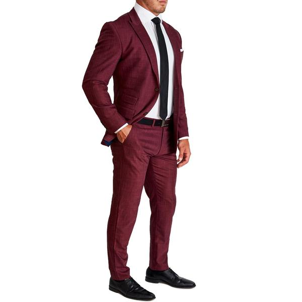 Athletic Fit Stretch Blazer - Heathered Maroon
