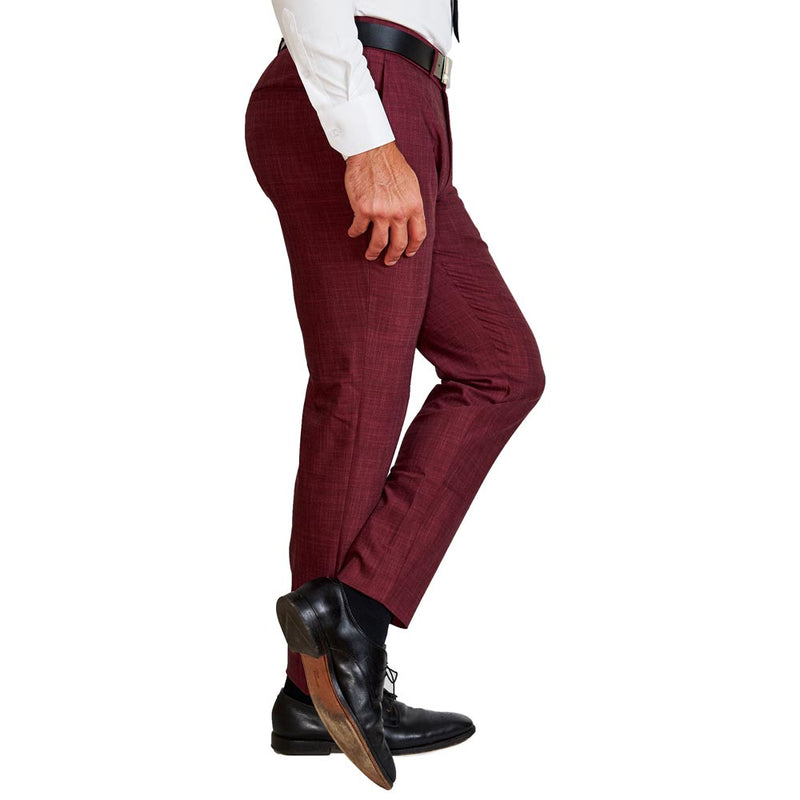 Athletic Fit Stretch Suit Pants - Heathered Maroon