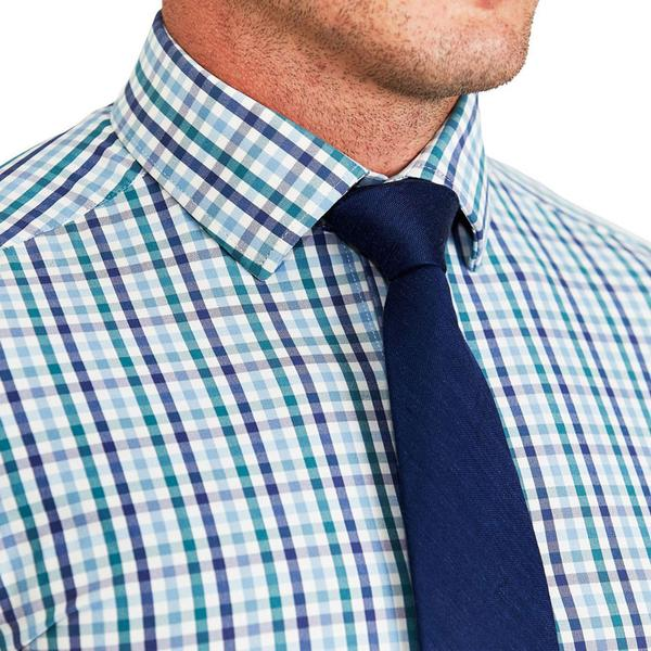 """The Parker"" Navy, Light Blue and Pine Green Gingham"