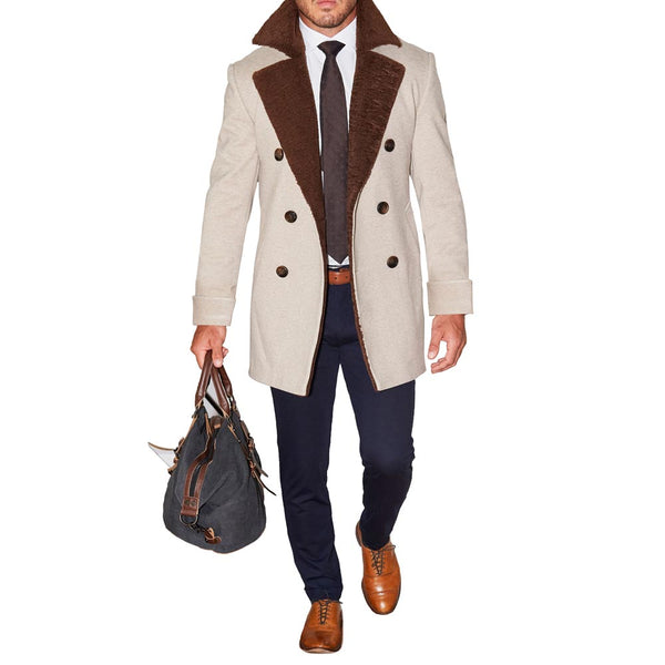 Limited Edition: Tan Double-Breasted Peacoat with Brown Fur (Ships in 7 Weeks)