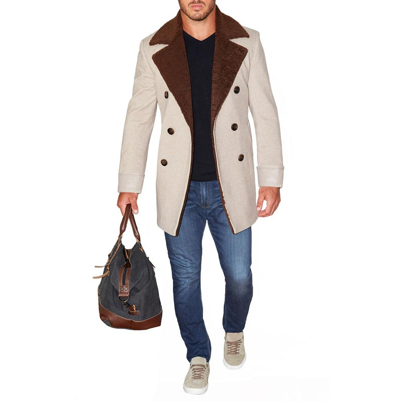 Limited Edition: Tan Double-Breasted Peacoat with Brown Fur (2-Week Lead Time)