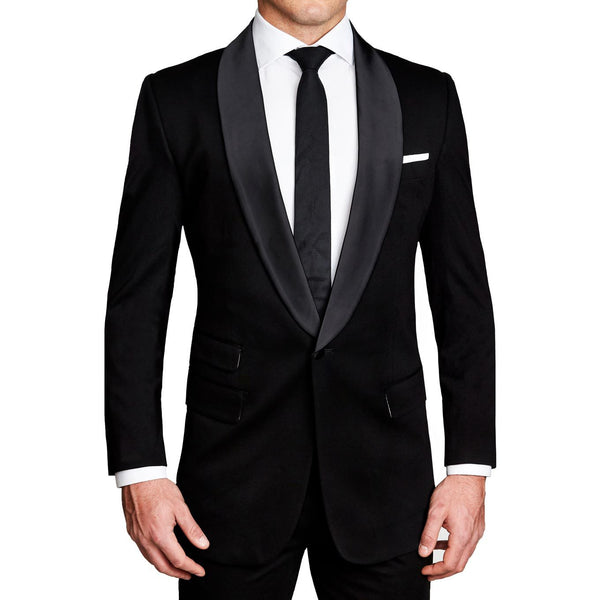 Athletic Fit Stretch Tuxedo - Black with Shawl Lapel (Ships in 5 Weeks)