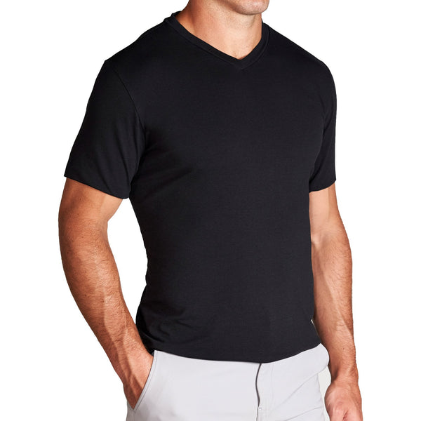 """The Asher "" Black Short Sleeve V-Neck"