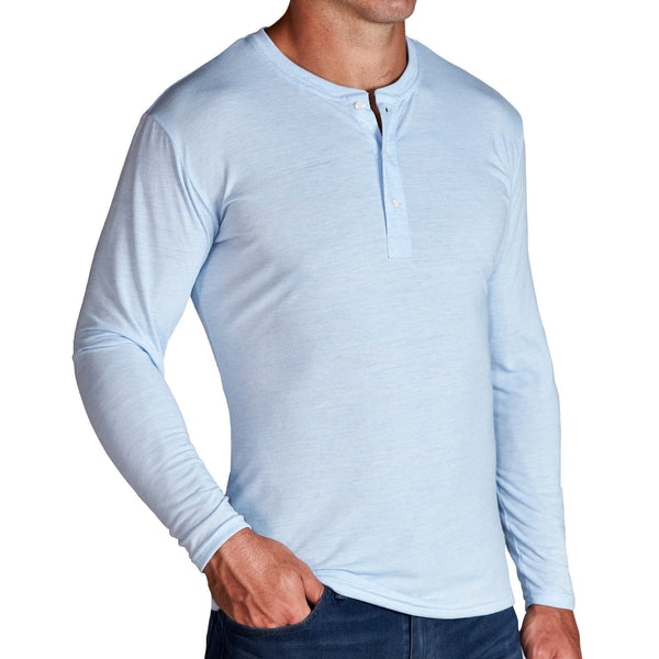 """The Campbell"" Light Blue Long Sleeve Henley"
