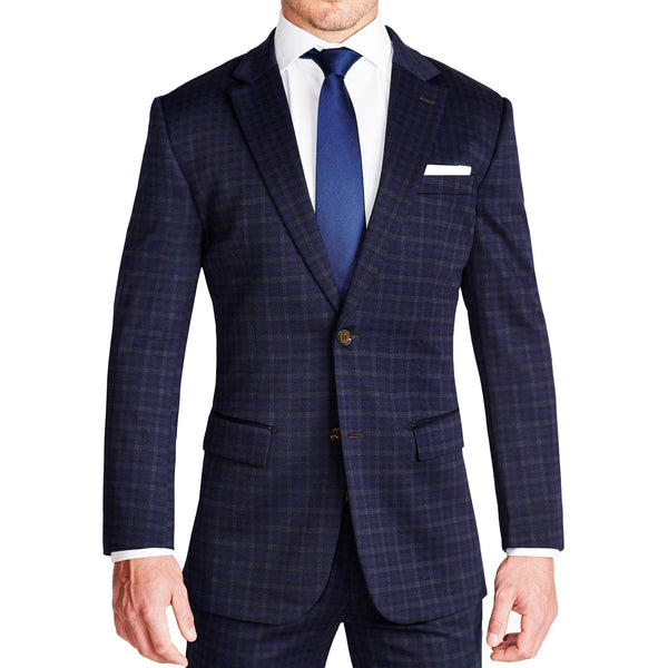 Athletic Fit Stretch Blazer - Blue Plaid (Ships in 5 Weeks)