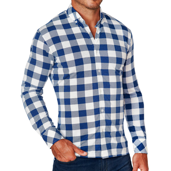 """The Holland"" Royal Blue Plaid Casual Button Down"