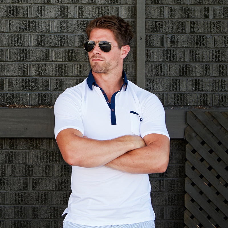 """The Felix"" Blue on White Polo"