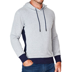 Grey Hoodie with Navy Accents