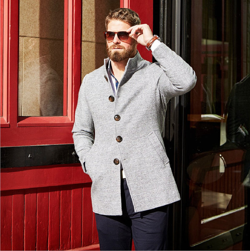 Grey Open Button Overcoat