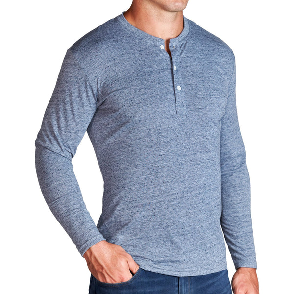 """The Arko"" Steel Blue Long Sleeve Henley"
