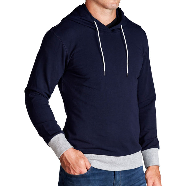 Navy Hoodie with Grey Accents