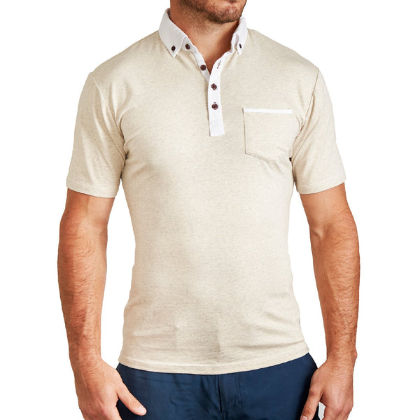 """The Owings"" Tan with White Accents Polo"