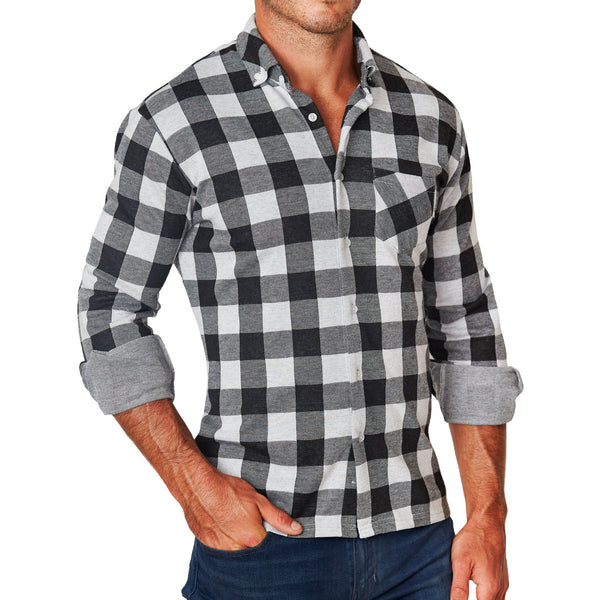 """The Reese"" White & Black Plaid Casual Button Down"